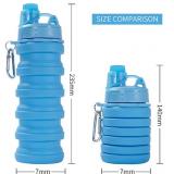 Силиконовая складная бутылка ГОЛУБАЯ 500 мл (140)
