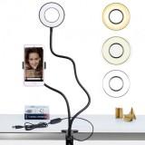 9см Кольцевая LED лампа (ножка с прищепкой) (1 крепл.тел.) USB (30)